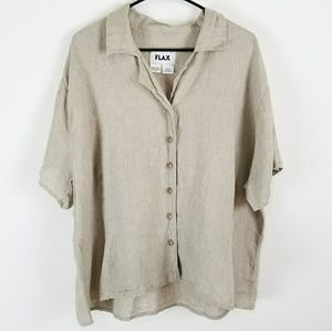 FLAX Womens  3X Blouse Top 100% Linen Button Down